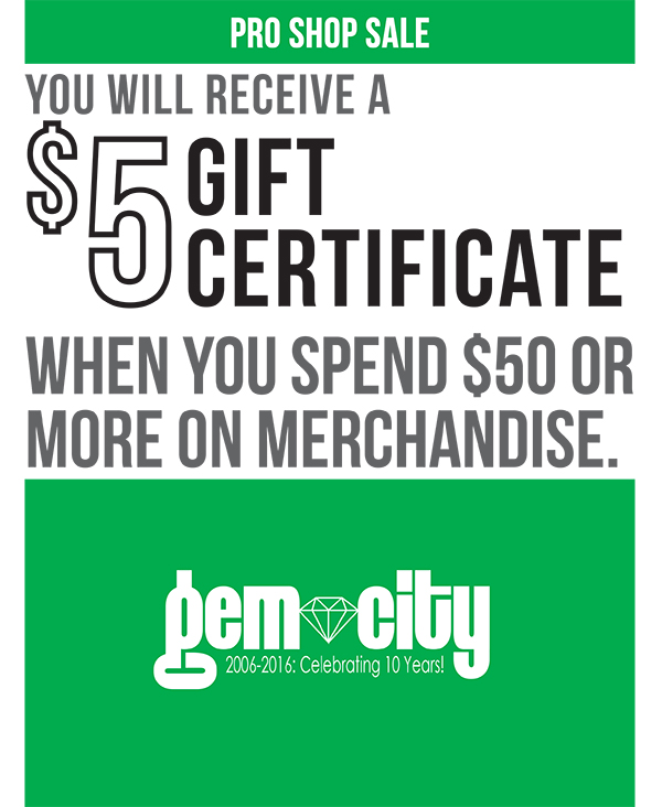 Receive a $5 gift certificate when you spend $50 or more on merchandise.