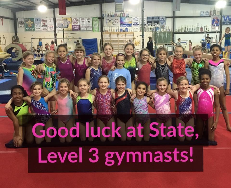 Good luck, Level 3 gymnastics team!