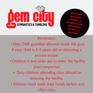 Please be mindful that Gem City must keep the number of people inside our facility as low as possible.