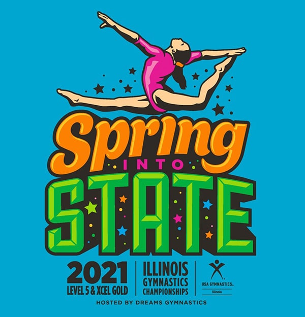 Logo for the Spring into State 2021 Level 5 & Xcel Gold Illinois Gymnastics Championships