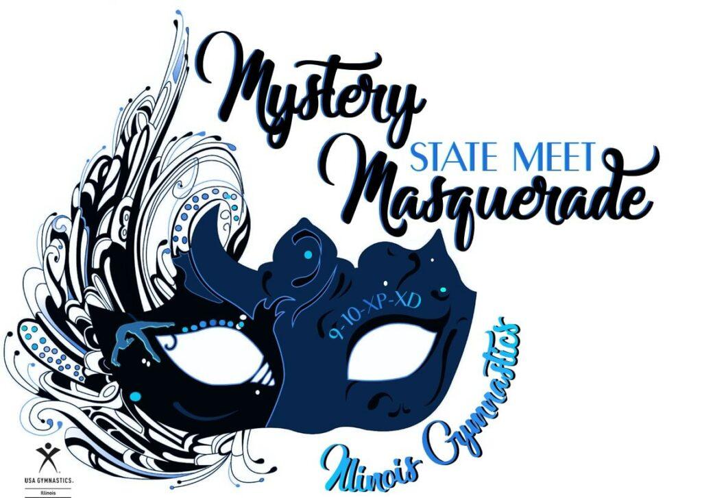 Mystery Masquerade Illinois State Meet logo 2021